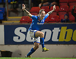 St Johnstone v Motherwell......27.10.13      SPFL<br /> Stevie May celebrates his goal<br /> Picture by Graeme Hart.<br /> Copyright Perthshire Picture Agency<br /> Tel: 01738 623350  Mobile: 07990 594431