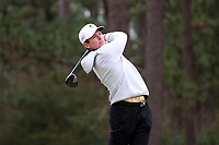 PINEHURST, NC - MARCH 02: Michael Brennan of Wake Forest University tees off on the fifth hole at Pinehurst No. 2 on March 02, 2021 in Pinehurst, North Carolina.
