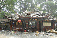 The Er Wang Temple, an historic site near Dujiangyan, has been badly damaged in the earthquake..16 May 2008