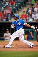 Oklahoma City Dodgers left fielder O'Koyea Dickson (7) follows through on a swing during a game against the Colorado Springs Sky Sox on June 2, 2017 at Chickasaw Bricktown Ballpark in Oklahoma City, Oklahoma.  Colorado Springs defeated Oklahoma City 1-0 in ten innings.  (Mike Janes/Four Seam Images)