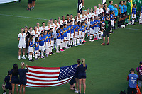 PASADENA, CALIFORNIA - August 03: USWNT during their international friendly and the USWNT Victory Tour match between Ireland and the United States at the Rose Bowl on August 03, 2019 in Pasadena, CA.