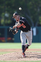 Jace Fry #11 of the Oregon State Beavers pitches against the Southern California Trojans at Dedeaux Field on May 23, 2014 in Los Angeles, California. Southern California defeated Oregon State, 4-2. (Larry Goren/Four Seam Images)