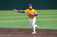 LSU Tigers second baseman Zach Arnold (2) makes a throw to first base against the Tennessee Volunteers on Robert M. Lindsay Field at Lindsey Nelson Stadium on March 28, 2021, in Knoxville, Tennessee. (Danny Parker/Four Seam Images)