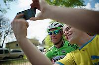 selfie with Lars Petter Nordhaug (NOR/Belkin)<br /> <br /> La Flèche Wallonne 2014
