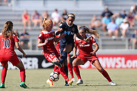 Cary, North Carolina  - Saturday August 19, 2017: Lynn Williams and Tori Huster during a regular season National Women's Soccer League (NWSL) match between the North Carolina Courage and the Washington Spirit at Sahlen's Stadium at WakeMed Soccer Park. North Carolina won the game 2-0.