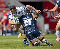 17th April 2021; AJ Bell Stadium, Salford, Lancashire, England; English Premiership Rugby, Sale Sharks versus Gloucester; Cobus Weise of Sale Sharks tackles Santiago Carreras of Gloucester Rugby