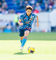 HARRISON, NJ - MARCH 08: Mina Tanaka #15 of Japan dribbles during a game between England and Japan at Red Bull Arena on March 08, 2020 in Harrison, New Jersey.