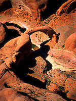 Art in Nature 9704-0132 - An aerial view of the rock formation Rainbow Bridge. It is located on land considered to be sacred by the Navajo Nation. Utah.