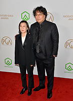 SANTA MONICA, USA. January 18, 2020: Kwak Sin-ae & Bong Joon Ho at the 2020 Producers Guild Awards at the Hollywood Palladium.<br /> Picture: Paul Smith/Featureflash