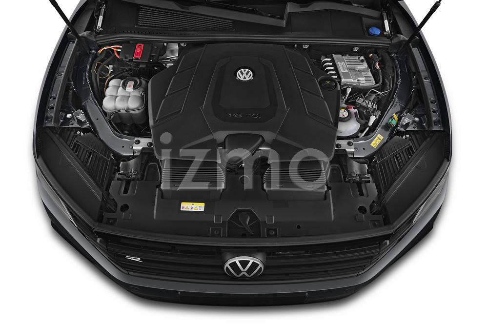 Car Stock 2021 Volkswagen Touareg R 5 Door SUV Engine  high angle detail view