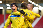 Dunfermline v St Johnstone..24.12.11   SPL .Fran Sandaza celebrates his goal with Murray Davidson and Marcus Haber.Picture by Graeme Hart..Copyright Perthshire Picture Agency.Tel: 01738 623350  Mobile: 07990 594431