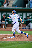 Gersel Pitre (45) of the Ogden Raptors bats against the Great Falls Voyagers at Lindquist Field on September 14, 2017 in Ogden, Utah. The Raptors defeated the Voyagers 7-4 in Game One of the Pioneer League Championship. (Stephen Smith/Four Seam Images)