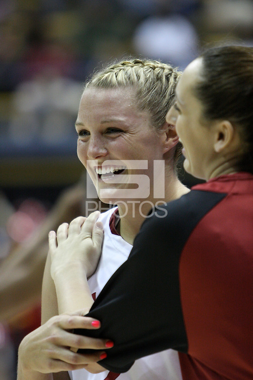 BERKELEY, CA - MARCH 30: Jayne Appel celebrates with Ashley Cimino during Stanford's 84-66 win against the Ohio State Buckeyes on March 28, 2009 at Haas Pavilion in Berkeley, California.