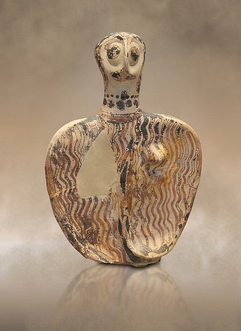 Upper part of a Mycenaean female figurine with stylised arms wearing a necklace, from Mycenae tomb 101, Archaeological Museum Athens. Cat No 4690<br /> <br /> Stylised female figurines were common in the Mycenaean world and may have represented deities , divine nurses or worshipers. these Mycenaean female figurines were probably used as voitive offering and maybe as childrens toys.