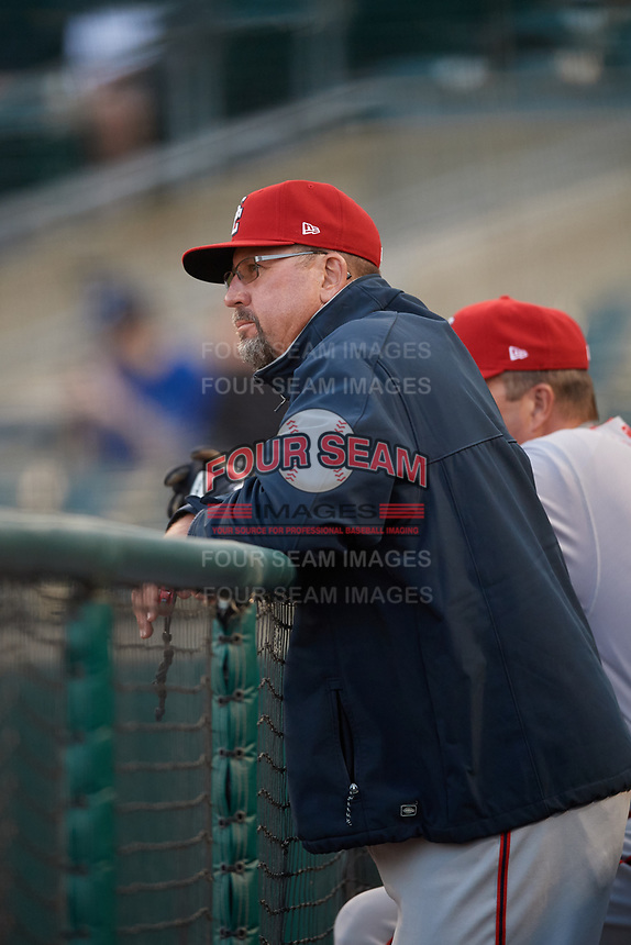 Syracuse Chiefs pitching coach Bob Milacki (48) during a game against the Buffalo Bisons on May 18, 2017 at Coca-Cola Field in Buffalo, New York.  Buffalo defeated Syracuse 4-3.  (Mike Janes/Four Seam Images)