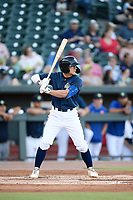 Second baseman Chandler Avant (5) of the Columbia Fireflies bats in a game against the Lexington Legends on Friday, June 14, 2019, at Segra Park in Columbia, South Carolina. Lexington won, 5-1. (Tom Priddy/Four Seam Images)