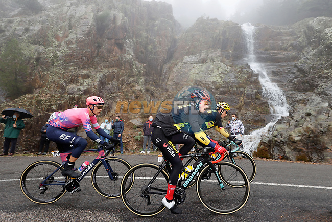 Race leader Primoz Roglic (SLO) Team Jumbo-Visma during Stage 17 of the Vuelta Espana 2020, running 178.2km from Sequeros to Alto de la Covatilla, Spain. 7th November 2020. <br /> Picture: Luis Angel Gomez/PhotoSportGomez | Cyclefile<br /> <br /> All photos usage must carry mandatory copyright credit (© Cyclefile | Luis Angel Gomez/PhotoSportGomez)