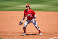 St. Louis Cardinals first baseman John Nogowski (34) during a Major League Spring Training game against the New York Mets on March 19, 2021 at Clover Park in St. Lucie, Florida.  (Mike Janes/Four Seam Images)