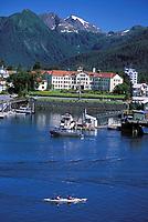 Kayakers, Pioneer Home, Sitka harbor, Sitka, Alaska