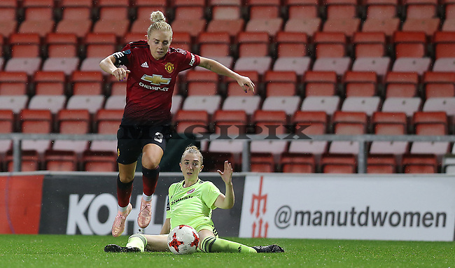 Alex Greenwood of Manchester United Women and Jade Pennock of Sheffield Utd Women