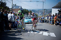 Daniel Martin (IRL/Cannondale-Garmin) & Tiago Machado (POR/Katusha) among the last riders up the infamous Mur de Huy (1300m/9.8%) on the 1st Mur-ascent of the day.<br /> <br /> 79th Flèche Wallonne 2015