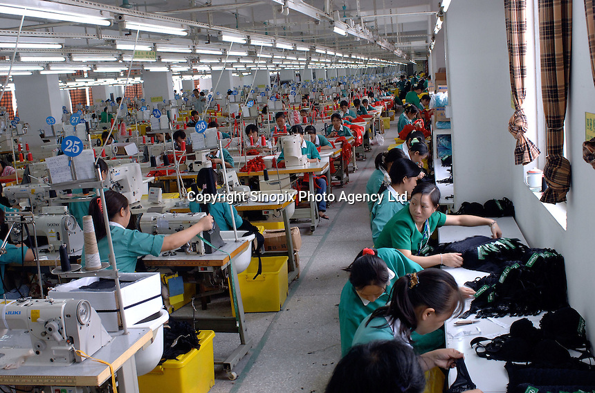 A lingerie factory, Foshan City, Guangdong, China.  The factory produces over 11 million bras annually.