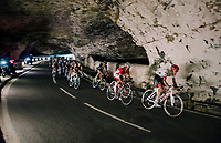 riders rolling through a spectacular huge/dark cave: the 'Grotte du Mas-d'Azil'<br /> <br /> Stage 16: Carcassonne > Bagnères-de-Luchon (218km)<br /> <br /> 105th Tour de France 2018<br /> ©kramon