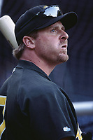 Jeremy Giambi of the Oakland Athletics during a 2001 season MLB game at Angel Stadium in Anaheim, California. (Larry Goren/Four Seam Images)