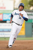 Corey Simpson #36 of the Everett AquaSox during a game against the Salem-Keizer Volcanoes at Everett Memorial Stadium in Everett, Washington on July 9, 2014.  Salem-Keizer defeated Everett 6-4.  (Ronnie Allen/Four Seam Images)