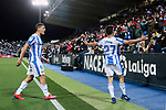 CD Leganes's Guido Marcelo Carrillo (L) and Oscar Rodriguez (R) celebrate goal during La Liga match between CD Leganes and Levante UD at Butarque Stadium in Leganes, Spain. March 04, 2019. (ALTERPHOTOS/A. Perez Meca)