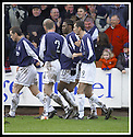25/1/03       Copyright Pic : James Stewart                  .File Name : stewart-falkirk v hearts 24.COLIN SAMUEL IS CONGRATULATDE BY TEAM MATES AFTER HE SCORES FALKIRK'S THIRD GOAL.......James Stewart Photo Agency, 19 Carronlea Drive, Falkirk. FK2 8DN      Vat Reg No. 607 6932 25.Office : +44 (0)1324 570906     .Mobile : + 44 (0)7721 416997.Fax     :  +44 (0)1324 570906.E-mail : jim@jspa.co.uk.If you require further information then contact Jim Stewart on any of the numbers above.........