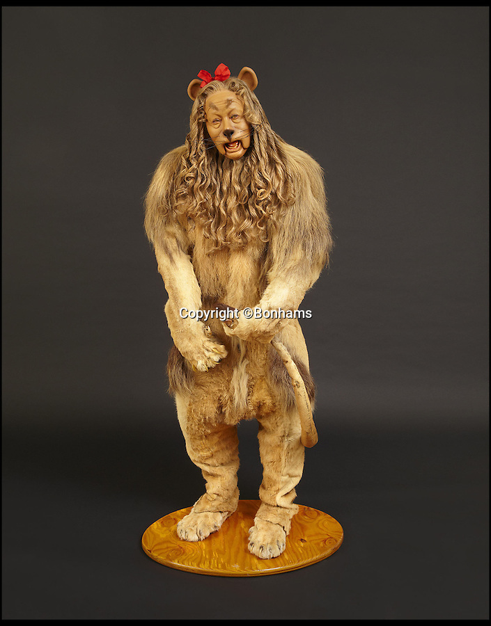 BNPs.co.uk (01202 558833)<br /> Pic: Bonhams/BNPS<br /> <br /> ***Please Use Full Byline***<br /> <br /> No 4: The Cowardly Lion costume worn by Burt Lahr in The Wizard of Oz (1939) sold for $3,077,000.<br /> <br /> In the wake of the Oscars, a list of the most valuable Academy Award-winning movie memorabilia ever sold at auction has been compiled.<br /> <br /> Movie memorabilia is big business for collectors, but you'd need deep pockets to get your hands on these pricey items, which have all been sold in the last five years for at least six-figure sums.