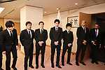 """March 4, 2020, Tokyo, Japan - United Arab Emirates (UAE) ambassador to Japan Khaled Al Ameri (R) smiles with members of pop group """"GENERATIONS from EXILE TRIBE"""" as Generations members are named to Japan-UAE goodwill ambassador by Japanese foreign ministry in Tokyo on Wednesday, March 4, 2020.   (Photo by Yoshio Tsunoda/AFLO)"""
