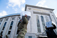 NEW YORK, NEW YORK - FEBRUARY 4:  Members on the National Guard arrive with stuff to be used during COVID-19 vaccination hub at Yankee Stadium on February 5, 2021 in New York City. Yankees legend Mariano Rivera visit the Yankee Stadium on Friday as it was transformed into a COVID-19 vaccination mega-facility for resident of the zone. (Photo by Eduardo MunozAlvarez/VIEWpress)