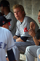 Kolbrin Vitek #5 of the Salem Red Sox sitting in the dugout during a game against the Myrtle Beach Pelicans on May 25, 2011 at BB&T Coastal Field in Myrtle Beach, South Carolina.