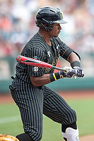 Vanderbilt Commodores second baseman Harrison Ray (2) at bat during Game 8 of the NCAA College World Series against the Mississippi State Bulldogs on June 19, 2019 at TD Ameritrade Park in Omaha, Nebraska. Vanderbilt defeated Mississippi State 6-3. (Andrew Woolley/Four Seam Images)
