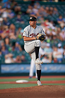 Tri-City ValleyCats pitcher Juan Pablo Lopez (18) during a NY-Penn League game against the Brooklyn Cyclones on August 17, 2019 at MCU Park in Brooklyn, New York.  Brooklyn defeated Tri-City 2-1.  (Mike Janes/Four Seam Images)