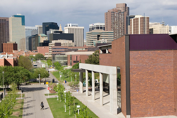 Woman student on the Auraria College Campus in Downtown Denver. Colorado. .  John offers private photo tours in Denver, Boulder and throughout Colorado. Year-round Colorado photo tours.