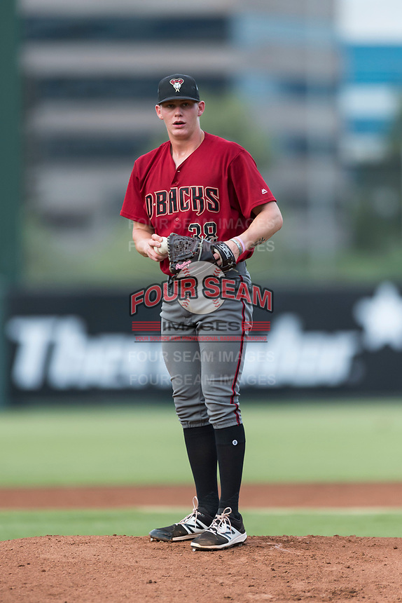 AZL Diamondbacks starting pitcher Harrison Francis (38) gets ready to deliver a pitch during an Arizona League game against the AZL Angels at Tempe Diablo Stadium on July 16, 2018 in Tempe, Arizona. The AZL Diamondbacks defeated the AZL Angels by a score of 4-3. (Zachary Lucy/Four Seam Images)