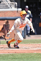 Tennessee Volunteers catcher Tyler Schultz (14) swings at a pitch during a game against the Vanderbilt Commodores at Lindsey Nelson Stadium on April 24, 2016 in Knoxville, Tennessee. The Volunteers defeated the Commodores 5-3. (Tony Farlow/Four Seam Images)