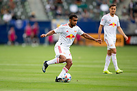 CARSON, CA - APRIL 25: Jason Pendant #24 of the New York Red bulls moves with the ball during a game between New York Red Bulls and Los Angeles Galaxy at Dignity Health Sports Park on April 25, 2021 in Carson, California.