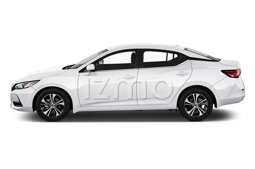 Car Driver side profile view of a 2020 Nissan Sentra SV 4 Door Sedan Side View