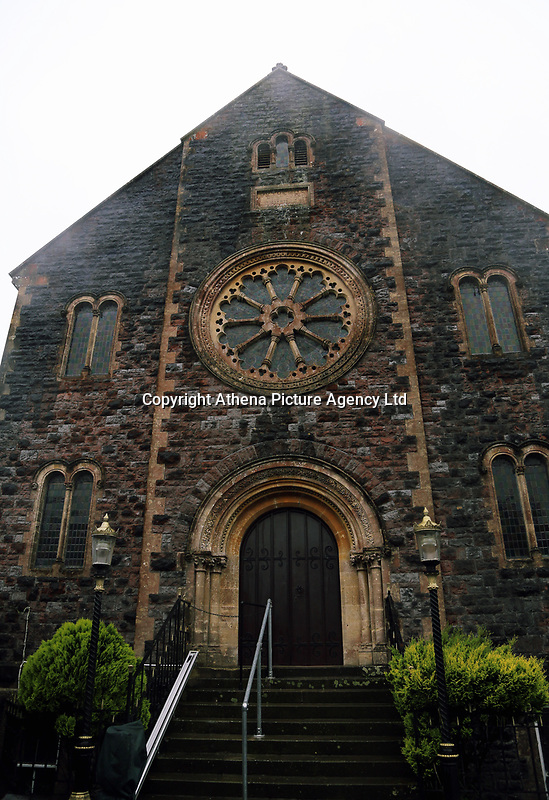 Pictured: A church in Narberth town centre. Tuesday 11 July 2017<br /> Re: A family of Syrian refugees will be given accommodation in Narberth, Pembrokeshire, Wales, UK.