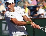 March 20, 2009.Novak Djokovic, of Serbia in action, loosing to Andy Roddick in the quarter final of the BNP Paribas Open, Indian Wells, CA