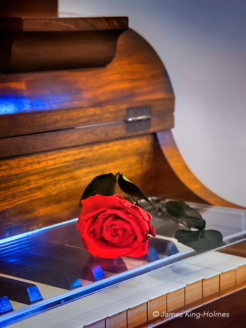 A rose lies on the keyboard of the Pleyel piano shipped to Frédéric Chopin in the Carthusian monasetery in Valldemossa, Mallorca in 1838. The instrument is housed in the monastic cell where Chopin spent a winter with his lover, Amantine-Lucile-Aurore Dupin, who wrote as George Sand. Chopin used the piano to compose some Preludes, a Polonaise, a Ballad and his Third Scherzo. The daily floral tribute to the composer has been carried out since the opening of the museum in the 1940s.