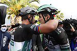 Patrick Konrad (AUT) congratulates team mate Peter Sagan (SVK) Bora-Hansgrohe after he wins Stage 10 of the 103rd edition of the Giro d'Italia 2020 running 177km from Lanciano to Tortoreto, Italy. 13th October 2020.  <br /> Picture: LaPresse/Fabio Ferrari | Cyclefile<br /> <br /> All photos usage must carry mandatory copyright credit (© Cyclefile | LaPresse/Fabio Ferrari)