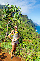A hiker on the Kalalau Trail on Kaua'i.