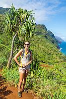 A hiker on the Kalalau Trail on Kaua'i.