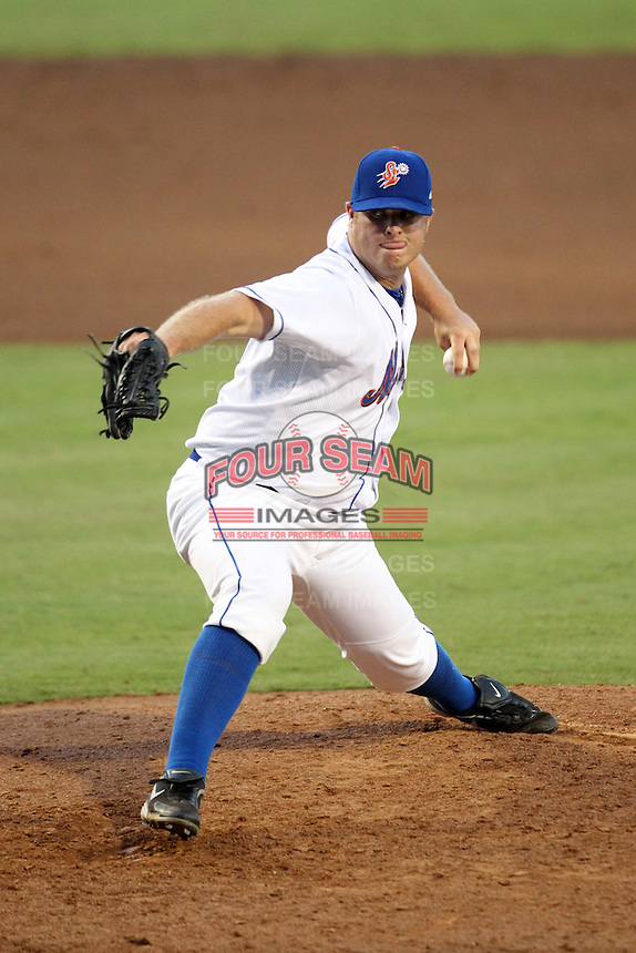 St. Lucie Mets pitcher Josh Edgin #40 delivers a pitch during a game against the Charlotte Stone Crabs at Digital Domain Ballpark on June 20, 2011 in Port St Lucie, Florida.  St. Lucie defeated Charlotte 3-2 in 11 innings.  (Mike Janes/Four Seam Images)