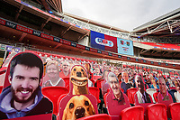 Cardboard cut out spectators, including dogs, during the Sky Bet League 2 PLAY-OFF Final match between Exeter City and Northampton Town at Wembley Stadium, London, England on 29 June 2020. Photo by Andy Rowland.